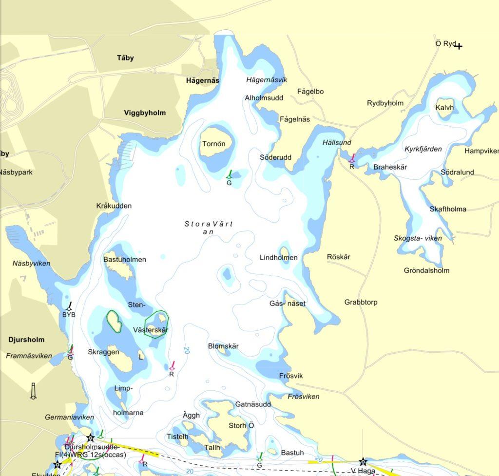Täby i nordväst, Djursholm i Sydväst och Lidingö i Syd. Fiiiina områden...När Värtan Levererar